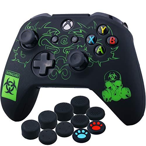 YoRHa Lasergravur Silikon Hülle Skin Hülle (BH) für Xbox One S/Xbox One X Controller x 1 mit Aufsätze x 10