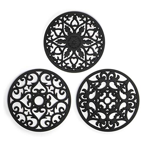 Silicone Trivets - Set of 3 | Pan Stands for Worktops & Saucepans | Hot Pan Mat | Teapot Stand | Table Mats | For Kitchen | Pot Stand | Pukkr (Black)
