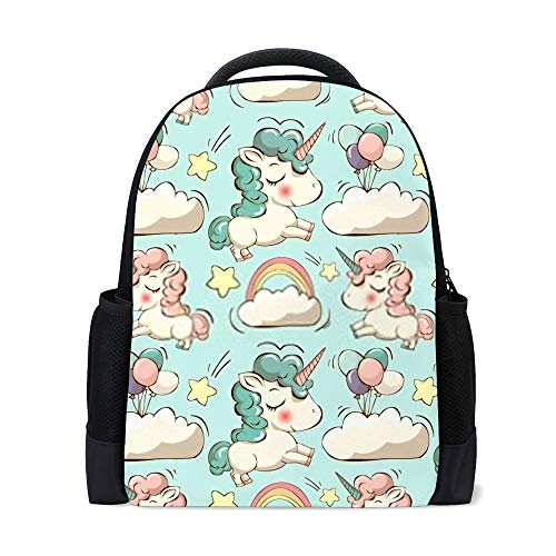 Mochila escolar para niños y niñas, viajes, senderismo, camping, mochila informal, unicornios, estampados de arco iris, 16 pulgadas × 6 pulgadas × 11 pulgadas