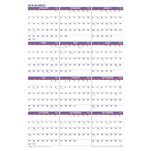 2022 Wall Calendar by AT-A-GLANCE, 24' x 36', Extra Large, Yearly (PM1228)