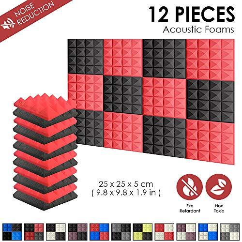 Arrowzoom Super Dash 12 Stück 50 x 50 x 5 cm Pyramide Akustik Home Studio Schalldämmung Zubehör Schaumstoff Wandplatten Fliesen SD1034 12 Pieces - 25 x 25 x 5 cm rot/schwarz