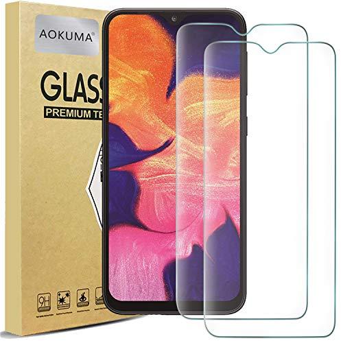AOKUMA Cristal Templado Samsung Galaxy A10, [2 Unidades] Protector Pantalla para Samsung Galaxy A10 Robusto Antiarañazos Antihuellas con Borde Redondeado Dureza 9H+ Antiburbujas