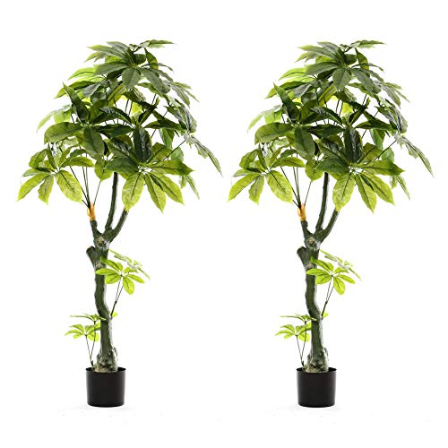 The Fellie Artificial Plants Outdoor in Pots Large Fake Tree 21 Leaves Decorative Replica Plant 160cm High, 2 Pack
