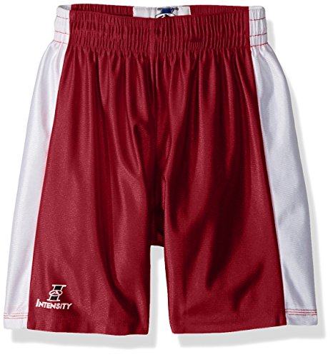 Save %19 Now! Intensity Unisex Youth Pro Style Dazzle Basketball Short, Cardinal/White, Medium