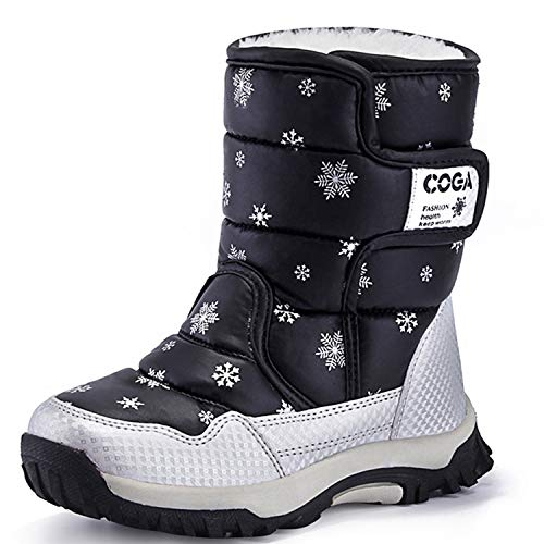 Stonz Winter Boots for Cold Weather, Snow, Ice and Winter Sports - Insulated, Super Light, Warm, Grey/Black, Youth 1