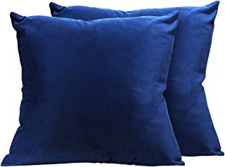 UROOM Decorative Throw Pillow Covers Dark Blue, Solid Velvet Square Cushion Cases Set of 2 for Couch Sofa, 18 X 18 inches