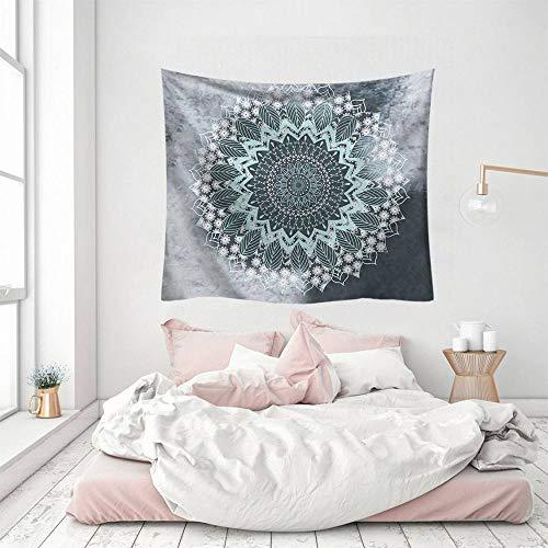 Wandteppich, hellgrau, indisches Mandala-Kunst, Bohemia, Hippie, 3D-Druck, Polyester, Silber, dekorativ, Picknick, Schlafsaal, Wohnzimmer, Schlafzimmer, Arbeitszimmer, Fenster