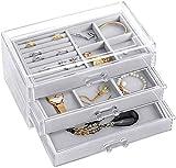 HB life Schmuckschatulle Acryl Jewelry aus Samt Schmuckkästchen Schmuckbox mit 3 Schubladen Jewelry