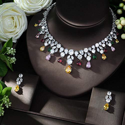 FWJSDPZ Party Barrasseles 2pcs Joyería Nigeriana Set para Mujeres Boda Zircon Indian Bridal Set (Color : Silver)