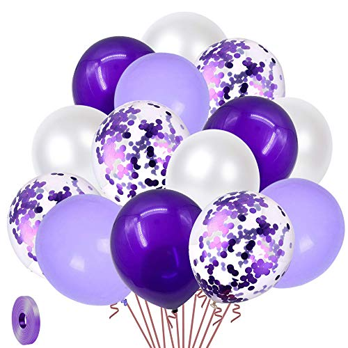 White Purple Confetti Latex Balloons, 50pcs 12 inch Helium Party Balloon with 33 Ft Purple Ribbon for Birthday, Girls Baby Shower, Wedding, Anniversary and Festival Ceremony Princess Decoration