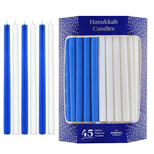Hanukkah Candles Deluxe Tapered Blue and White Menorah Candles for All 8 Nights of Chanukah