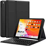 iPad 10.2 case with keyboard - Magnetically Detachable Wireless Keyboard, Folio Stand PU Leather Case with Pencil Holder for New iPad 7th/8th 2020/2019 generation 10.2 Inch, Black