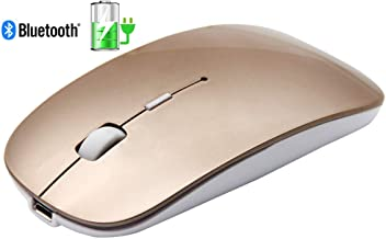 Tsmine Slim Rechargeable Bluetooth Mouse, Ultra-Slim Mice for Notebook, PC, Laptop, Computer,Windows/Android Tablet, iMac MacBook Air(Not for iPad and iPhone) - Gold