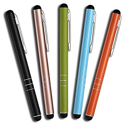 MobiLinyi 5 Stück Premium Eingabestift Touchstift Stylus Pen für Apple iPhone ipad Air Pro Samsung Galaxy Huawei P7 P8 P9 P10 & alle Tablets Smartphones, Farbe: schwarz Gold grün blau orange