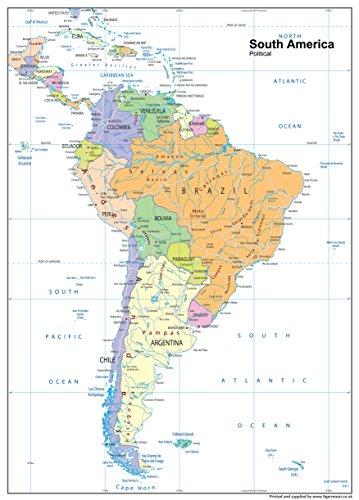 Politische Karte Südamerika, Papier, laminiert, A1, 59,4 x 84,1 cm