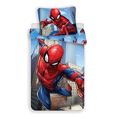 Marvel Spiderman - Parure da letto composta da copripiumino 140 x 200 cm + federa 70 x 90 cm