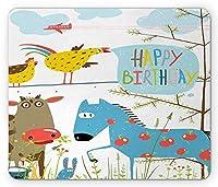 誕生日マウスパッド、ハッピーバースデー引用付きの農場の動物漫画田舎パーティー馬と雌鶏、標準サイズの長方形滑り止めラバーマウスパッド、多色