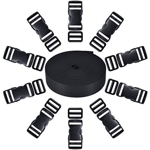 10 Set 1 Inch Lateral Plastic Flat Release Buckles and 10 Parts Triglide Adjustment Clips Compatible with 1 1 Roll Inch Width 10 Yards Black Nylon Strap