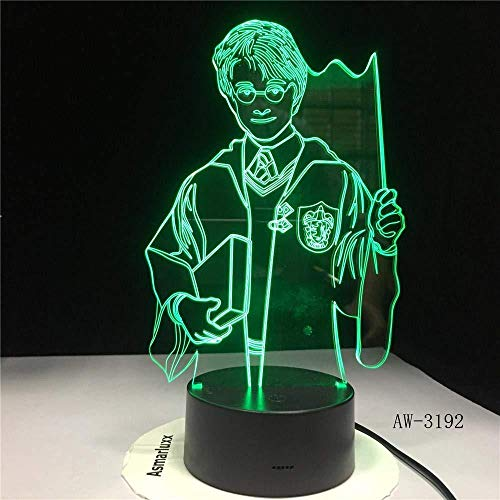 3D LED Illusion Light Harry Potter Personaje Anime 7 colores Control remoto Luz dimensional Luces ópticas nocturnas Lámpara de mesa Ambiente Decoración Niños Regalos de cumpleaños