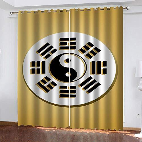 IZYLWZ Mörkläggningsgardin mycket mjuk massiv termisk isolerad ring topp dekorativ taoist skvallra karta gardin med öljetter för vardagsrum sovrum barnkammare 2 delar B 111 x L 102