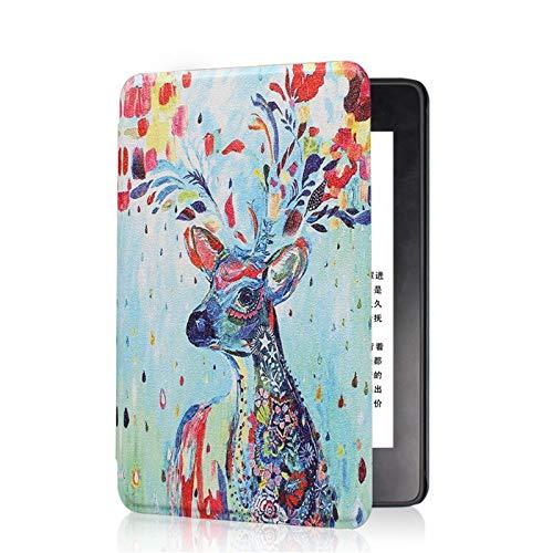 ZHAOXIANGXIANG Kindle Case,para Kindle 2019 Caso Thinnest Lightest PU Cuero Smart Cover para Kindle 10Th 2019 Modelo Lanzado: J9G29R, Ciervo Colorido
