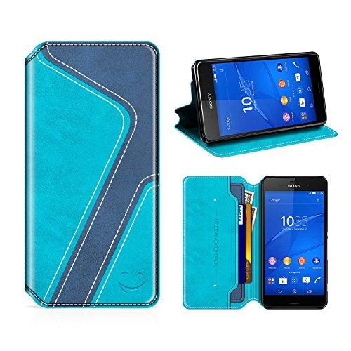 MOBESV Smiley Sony Xperia Z3 Hülle Leder, Sony Xperia Z3 Tasche Lederhülle/Wallet Case/Ledertasche Handyhülle/Schutzhülle mit Kartenfach für Sony Xperia Z3, Aqua/Dunkel Blau