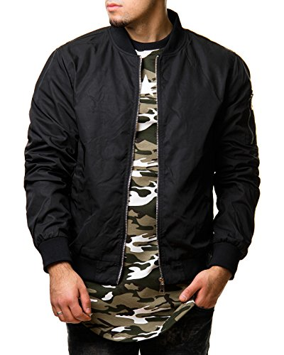 Burocs EightyFive Herren Bomberjacke Übergangsjacke Schwarz Khaki Rot Camouflage EFS150, Größe:S, Farbe:Schwarz