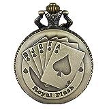 JewelryWe Reloj de Bolsillo Bronce Poker Royal Flush, Reloj de Bolsillo Cuarzo para Hombre Mujer con Cadena Larga de 80CM, San Valentín