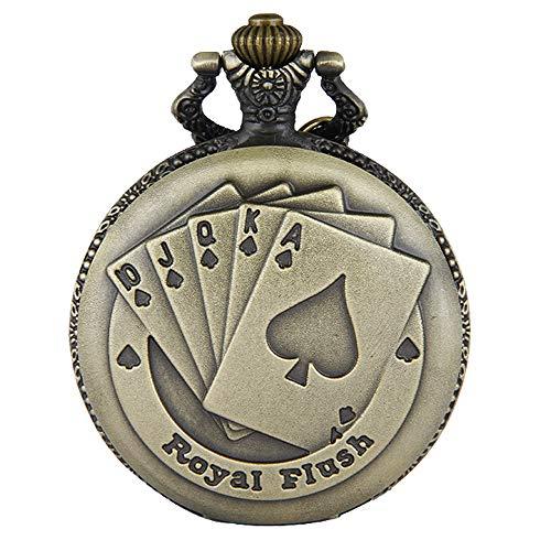 JewelryWe Vintage Taschenuhr Herren Analog Quarz Uhr mit Halskette Kette Kettenuhr Pocket Watch Royal Flush Poker Spielkarten