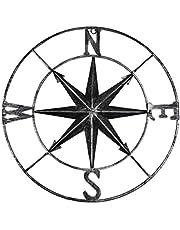 YiYa Distressed metalen kompas muurschildering decoratie nautische decoratie slaapkamer woonkamer tuin kantoor muur opknoping strand thema woondecoratie (zwart)