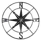 YiYa Bussola in Metallo angosciata Decorazione murale Decorazione Nautica Camera da Letto Soggiorno Giardino Ufficio Appeso a Parete Spiaggia Decorazione della casa a Tema (Nero)