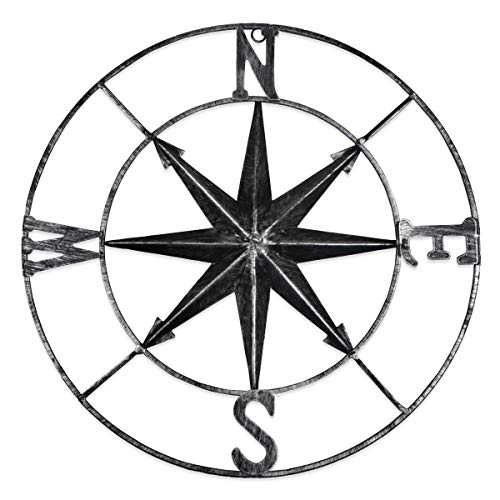 YiYa 11.8' Distressed Metal Compass Mural Decoration Nautical Decoration Bedroom Living Room Garden Office Wall Hanging Beach Theme Home Decoration (Black)