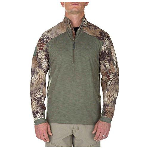 5.11 T-Shirt Tactique à Manches Longues pour Homme à Demi-Fermeture éclair pour évacuation de l'humidité, contrôle des odeurs, Style 72444 Large Vert Sauge