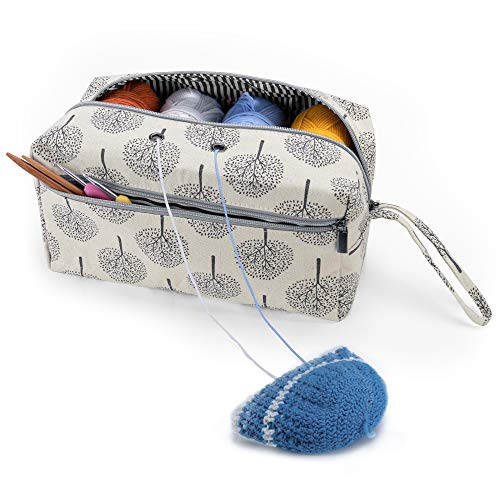 Luxja Yarn Storage Bag, Carrying Knitting Bag for Yarn Skeins, Crochet Hooks, Knitting Needles (up to 10 Inches) and Other Small Accessories (Large, Trees)