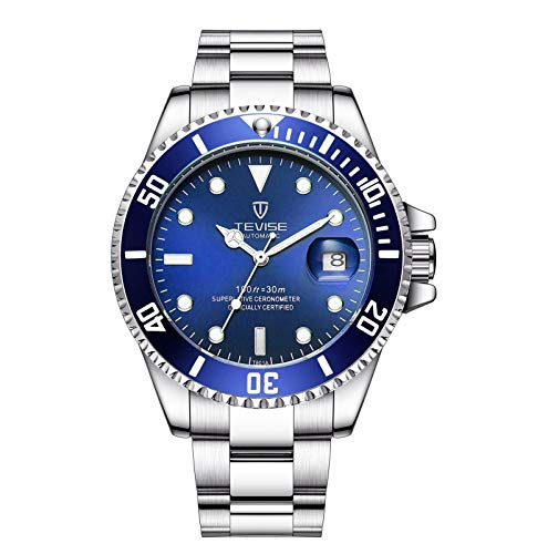JTTM Reloj para Hombre Moda Automático Analógico De Cuarzo Reloj De Pulsera para Hombre Acero Inoxidable Deportivo Impermeable con Fecha Reloj De Pulsera,White Blue