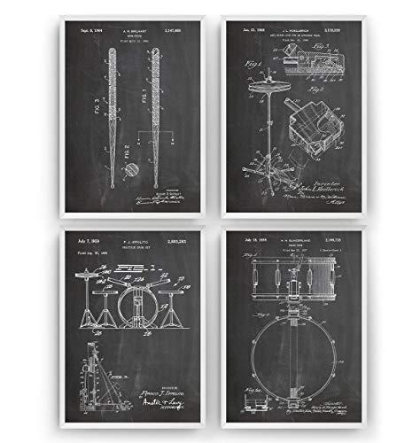 Schlagzeuger Patent Posters - Set Of 4 - Drum Set Jahrgang Drucke Drucken Bild Kunst Geschenke Zum Männer Frau Entwurf Dekor Vintage Art Gifts Decor - Rahmen Nicht Enthalten