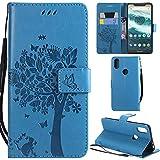 Ooboom Motorola Moto One/Moto P30 Play Coque Motif Arbre Chat PU Cuir Flip Housse Étui Cover Case...