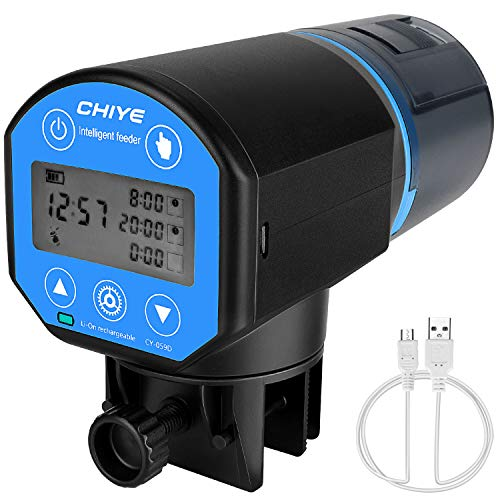 SlowTon Alimentador Automático Acuario Multifuncional Comedero Peces Automático con Pantalla LCD y el Tiempo (Azul)