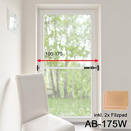 ALLEGRA Sicherungsstange für die Fenstersicherung und Türsicherung, Einbruchschutz für Fenster und Türen (1m - 1,75m, Weiß mit Filzgleiter)