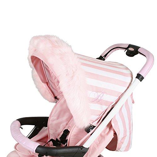 My Babiie Pram Hood Fur Trim, Baby Pink