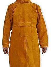 NUZAMAS Last schort anti-vlam rundleer lange mantel beschermende kleding kleding pak lasser duurzaam leer extra bescherming 102cm