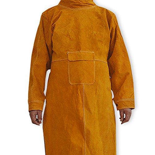 NUZAMAS Delantal de soldadura Anti-llama de piel de vaca de abrigo largo Ropa protectora Ropa Traje de soldador Durable Leather...
