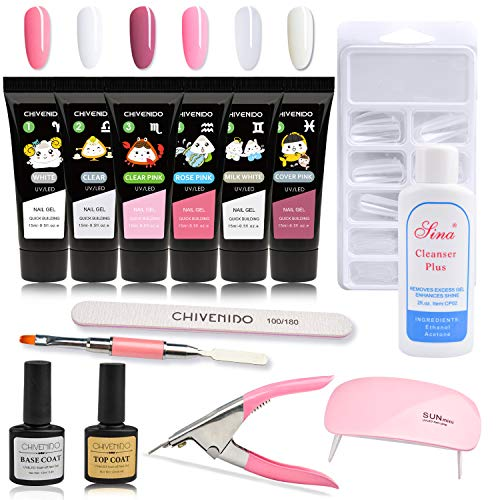 Poly Gel Nail Kit, CHIVENIDO 6x15ML Nail Builder Gel Extension Nail Gel Kit, Poly Nail Gel Kits Starter Kit Nail Salon Easy DIY for Beginner at Home All-in-One Kit Gift Set (S-01)