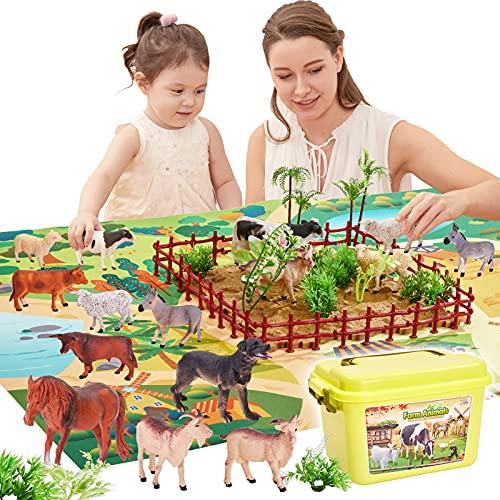 BUYGER Animales de la Granja Juguetes con Tapete de Juego y Arboles Figura de Animales Burro, Juego Educativo Regalos para Niños Niña 3 4 5 Años