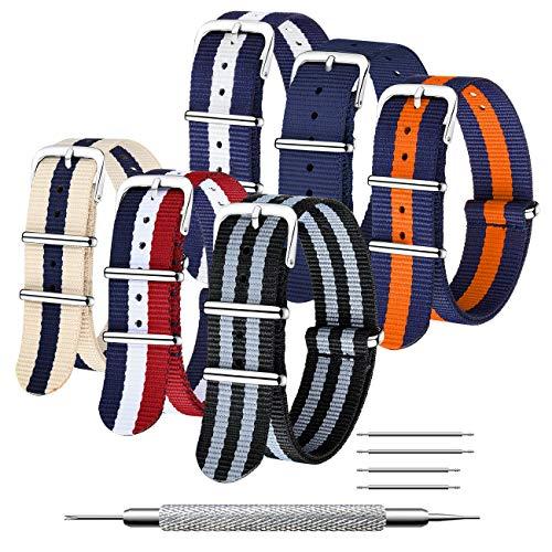 CIVO NATO Strap 6 Packs 18mm 20mm 22mm Bracelets de montre en nylon balistique Bracelets Zulu Boucle en acier inoxydable avec barre à ressort et outil de broche de liaison