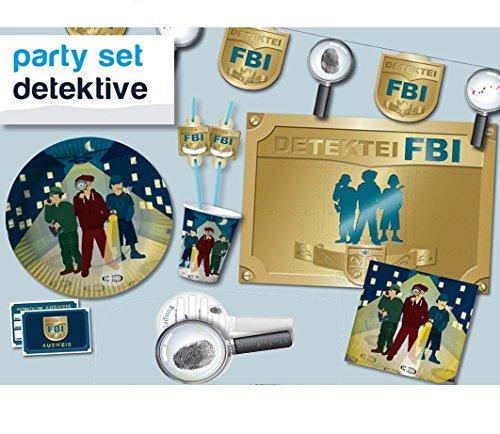 Partybox Detektive 69tlg. // Teller,Becher,Servietten,Trinkhalme,Fußspurren,Platzsets,Wimpelkette
