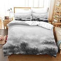 寝具セット3Dデザインパターンキングサイズ羽毛布団キルトカバー 240x220cm 霧の森の風景 マルチカラーベッドルーム装飾ベッドセットジッパークロージャーイージーケア