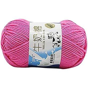 King.MI Suave de la leche algodón Natural tejer lana hilo bola bebé lana artesanal a mano: Amazon.es: Hogar