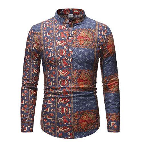 Camisa de Jersey Fina con Cuello Alto para Hombre, Estampado étnico, Tendencia a la Moda, Ajustada, cómodas Camisas de Manga Larga S