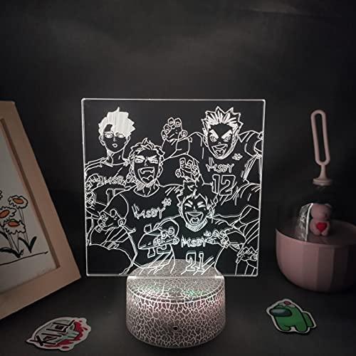 Haikyuu Anime Figura 3D Lámparas LED RGB neón luces de noche Cool regalos de cumpleaños para...
